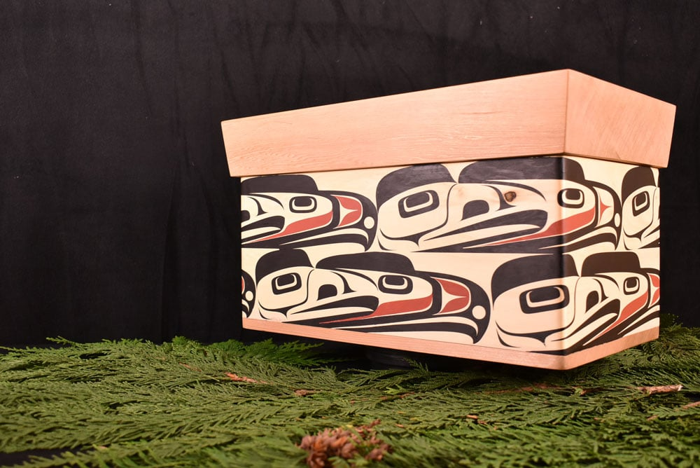 "Native Art Chest - Yellow cedar chest that I've named ""Eagles and Ravens"""
